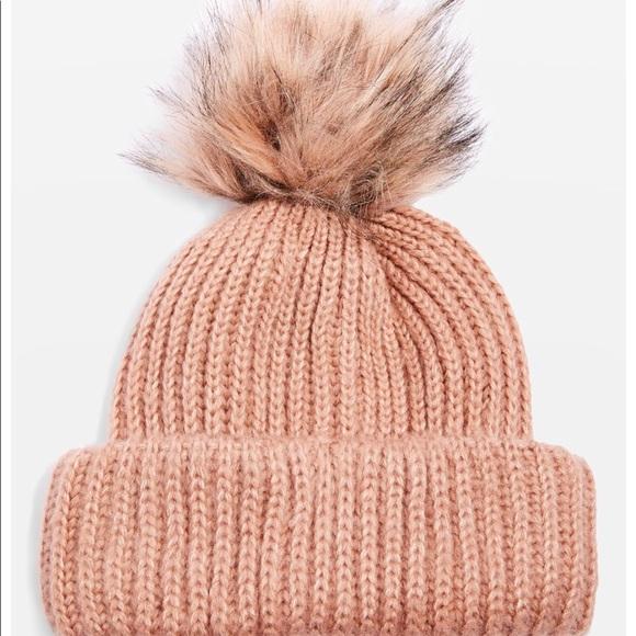 Faux Fur Pom Pom Beanie Hat NWT f7fa7b2f356